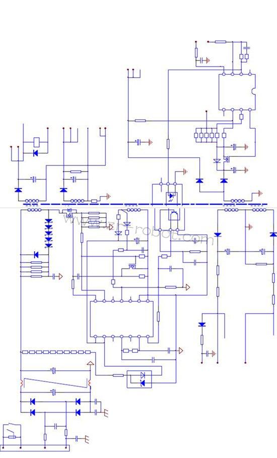 2)稳压回路。电路起振工作后,稳压电路随之发生作用,精确控制10脚输出的PWM脉冲信号的占空比,使脉冲变压器的储能发生变化,维持二次绕组输出的电压值保持稳定。对输出电压自动实施稳压控制的电路环节称为稳压回路,一般由电压反馈电路、基准电压与光耦电路形成的外部误差放大器、UC3844内部误差放大器、PWM控制电路等构成,本电路是由N76及外围电路将电压反馈信号进行处理,控制光耦合器D73输入电流的大小,使D73输出侧光敏三极管的导通内阻发生变化,进而控制UC3844的反馈信号输入脚3脚的电压变化,使内部P